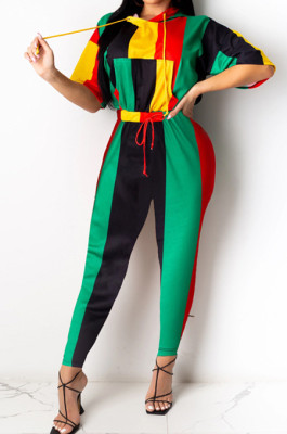 Colorful Stripe Print Spliced Short Sleeve Hoodie Pencil Pants Sports Sets YMT6226