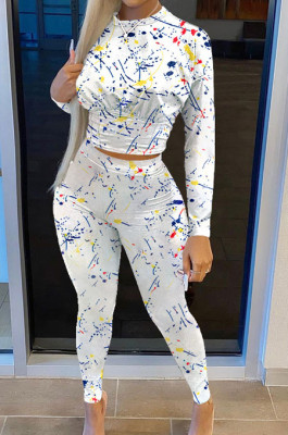 White Casual Print Round Neck Long Sleeve Bodycon Pants Two-Piece SN390184-5