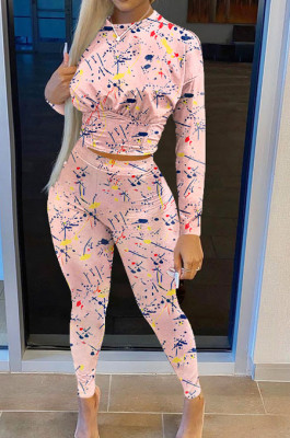 Pink Casual Print Round Neck Long Sleeve Bodycon Pants Two-Piece SN390184-4