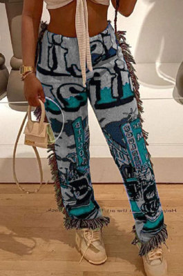 Blue Women Fashion Ribber Tassel Mdi Waist Pants HHB4036-2