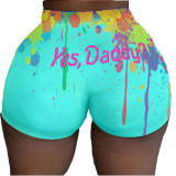 Splash-Ink Letter Printing Sexy Hip Shorts SDE0156