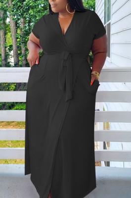 Black Plus Size Short Sleeve V Collar Bandage High Elastic Solid Color Long Dress BDF8090-2