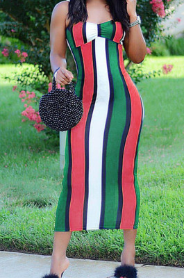 Red Cotton Blend Modest Stripe Condole Belt Strapless Sexy Boycon Dress YMT6216-2