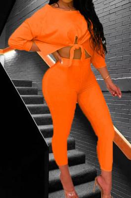 Orange Summer Round Collar Three Quarter Sleeve Bandage Top Bodycon Pants Two-Piece YMT6222-1