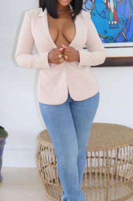 Cream White Fashion Pure Color Lapel Neck Backless Bandage Slim Fitting Suit Jacket LSZ91177-2