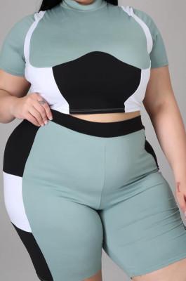 Green Plus Size Women Contrast Color Print O Neck Short Sleeve T-Shirt High Waist Shorts Sport Sets XUY9108-2