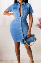 Light Blue Elastic Lapel Neck Short Sleeve Single-Breasted Slim Fitting Jean Midi Dress JLX6057-1