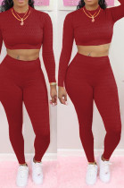 Red Scale Lines Long Sleeve Round Neck Crop Top High Waist Bodycon Pants Casual Sets NYF8011-3