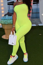 Neon Green Solid Color Sexy Mid Waist Strapless Bodycon Jumpsuits HM5493-5