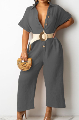 Grey Casual Solid Color Lapel Collar Single-Breasted Short Sleeve Wide Leg Jumpsuits TRS1169-5