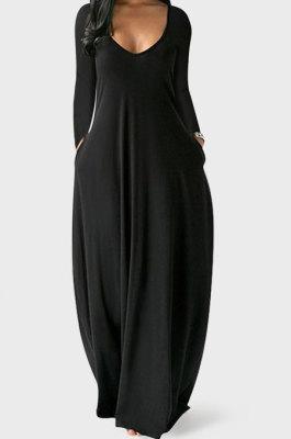 Black Autumn Winter Pure Color Sexy V Neck Long Sleeve Long Dress XQ1137-3