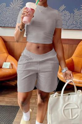 Grey Short Sleeve O Collar Crop T-Shirt Shorts Solid Color Casual Sets NYF8047-4