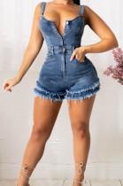 Blue Casual Condoel Belt Strapless Single-Breasted Slim Fitting Short Tassel Jean Romper Shorts JLX6905