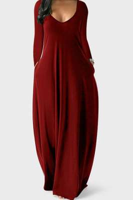 Wine Red Autumn Winter Pure Color Sexy V Neck Long Sleeve Long Dress XQ1137-5