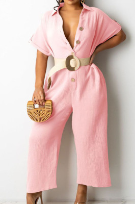 Pink Casual Solid Color Lapel Collar Single-Breasted Short Sleeve Wide Leg Jumpsuits TRS1169-3