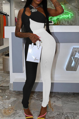 Black White Personality Oblique Shoulder Hollow Out Spliced Bodycon Jumpsuits XMY070-2