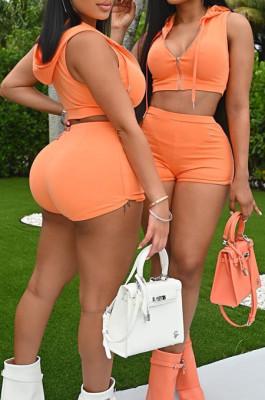Orange Cotton Blend New Sleeveless Dew Crop Zipper Hoodie High Waist Shorts Sport Sets XMY071-3