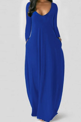 Blue Autumn Winter Pure Color Sexy V Neck Long Sleeve Long Dress XQ1137-4