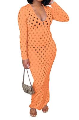 Orange Women Long Sleeve Sexy V Neck Club Hole Long Dress FMM2057-4