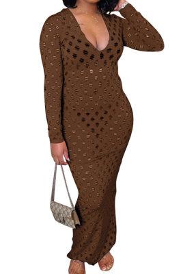 Coffee Women Long Sleeve Sexy V Neck Club Hole Long Dress FMM2057-6