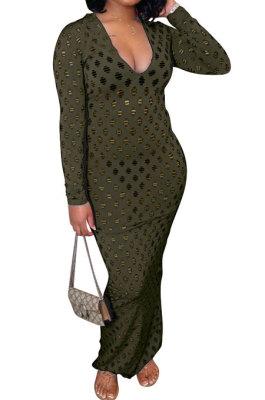 Army Green Women Long Sleeve Sexy V Neck Club Hole Long Dress FMM2057-5