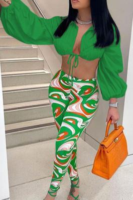 Green Fashion Lapel Neck Lantern Sleeve Tied Crop Top High Waist Printing Pants F88380-3