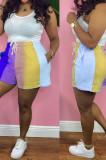 Yellow Digital Printing Rainbow Stripe Loose Casual Shorts HG133-1