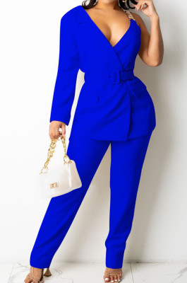 Blue Fashion One Sleeve Chain Long Sleeve V Neck Belt Long Pants Suit Two-Piece BS1283-2