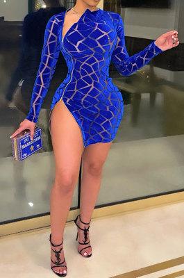 Blue Women Hollow Out Sexy Zipper Long Sleeve Mini Dress SN390161-1