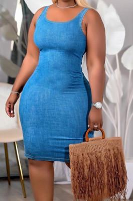 Blue Club U Neck Solid Color Collect Waist Jean Legging Tank Midi Dress DQ68011-1