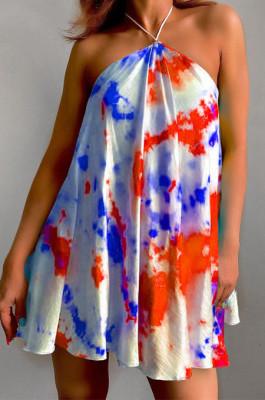 Red Sexy Halter Neck Backless Digital Tie Dye Printing Loose Swing Dress ZDD31157-1