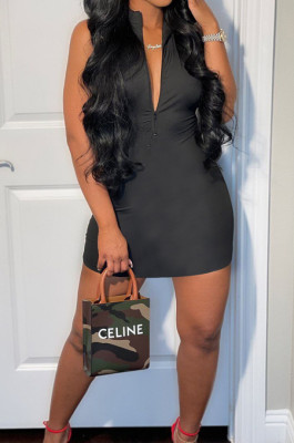 Black Sleeveless Stand Collar Zipper Back Cross Collect Waist Tank Midi Dress CCN1852-2