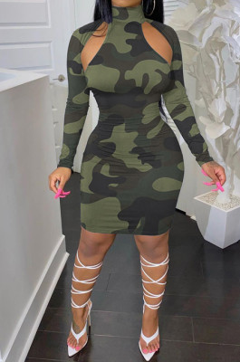 Army Green Camouflage Printing Half High Neck Long Sleeve Hollow Out Collcet Waist Hip Dress YMM8055-1