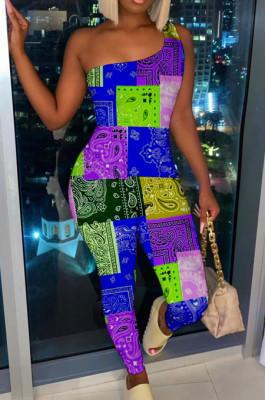 Blue Nigh Club Women One Shoulder Sleeveless Digital Printing Bodycon Jumpsuits HG117-3