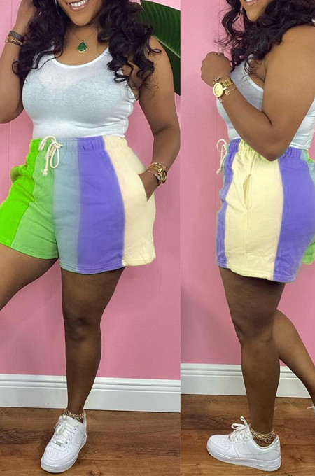 Green Digital Printing Rainbow Stripe Loose Casual Shorts HG133-2
