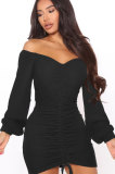 Army Green Women Off Shoulder Long Sleeve Loose Solid Color Shirred Detail Mini Dress FMM2065-6