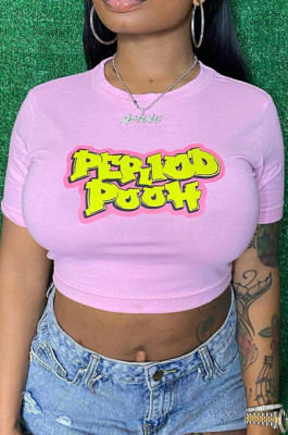 Pink Cute Cotton Blend Letter Printing Short Sleeve O Collar Crop T-Shirts CCN1850-3