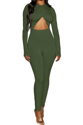 Army Green Long Sleeve Sexy Tight Club High Waist Solid WaistBodycon Jumpsuits FMM2062-3