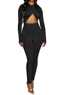 Black Long Sleeve Sexy Tight Club High Waist Solid WaistBodycon Jumpsuits FMM2062-1