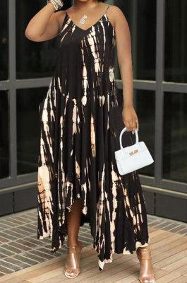 Black Women Sexy Pocket Split Tie Dye Condole Belt Long Dress AJL2707-2