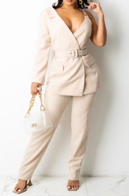 Apricot Fashion One Sleeve Chain Long Sleeve V Neck Belt Long Pants Suit Two-Piece BS1283-5