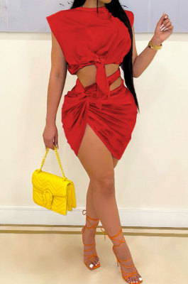 Red Womne Sexy Club Pure Color Shirred Detail Skirts Sets SH7274-2