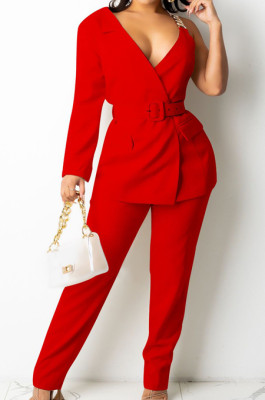 Red Fashion One Sleeve Chain Long Sleeve V Neck Belt Long Pants Suit Two-Piece BS1283-1