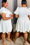 Rose Red Short Sleeve V Neck Bowknot Solid Color Swing Dress JC7064-2