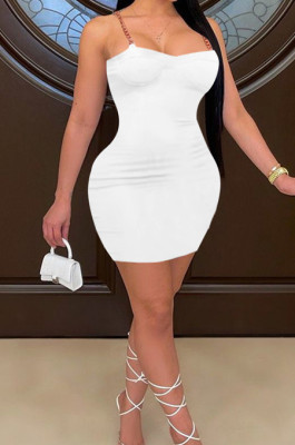 White Sexy Chian Condole Belt Strapless Solid Colur Hip Dress HH88980-1