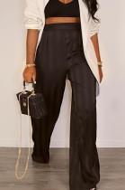 Black Satin Face Stripe Loose Straight Leg Pants JC7065-2