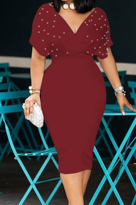 Wine Red New Night Club Short Sleeve V Neck Beaded Zip Back Bodycon Dress HH8825-2