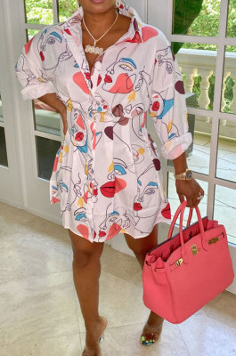Pink Trendy Casual Button Long Sleeve T Shirt/Shirt Dress YBS86719-1