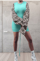 Lake Blue Leopard Printing Spliced Round Collar Horn Sleeve Drawsting Sexy Hip Dress HMR6026-4