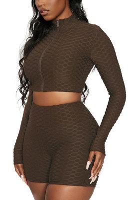 Coffee Euramerican Women Bodycon Pure Color Long Sleeve Casual Yoga Sport Shorts Sets SN390110-7